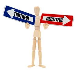 Truthful Deceitful Directional Arrows held by wood mannequin