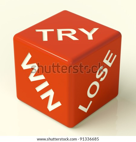 Try Win Lose Red Dice Showing Gambling And Luck
