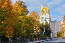 Tsarskoe Selo in Saint Petersburg. City of Pushkin in Russia. Church of Catherine Palace. Autumn landscape of Tsarskoe Selo. Rest in Saint Petersburg. Sights of Russia. Russia in autumn day.