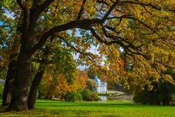 Tsarskoe Selo Saint Petersburg. Sights of Russia. Catherine Park in city of Pushkin. Tsarskoe Selo on Autumn Day. Tourism in Russia. Landscape of city of Pushkin. Attractions near Saint Petersburg.