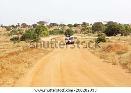 Tsavo, Kenya - February 3: Safari Car in Tsavo East National Park in Kenya on February 3, 2013