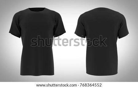 Tshirt Black color front & black / 3D Render - Shutterstock ID 768364552