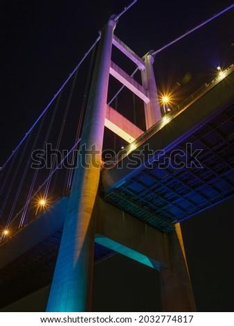 Tsing Ma Bridge at night, Hong Kong Stok fotoğraf ©