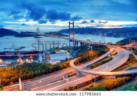 Tsing Ma Bridge, Hong Kong. Stok fotoğraf ©