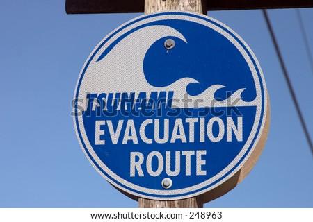 Tsunami Evacuation sign. - stock photo
