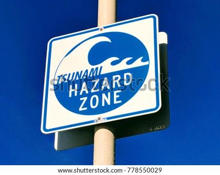 Tsunami Hazard Zone sign Near Beach City.