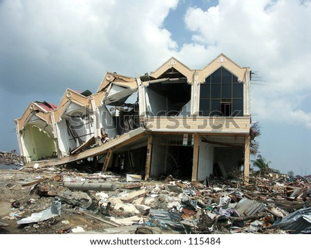 Tsunami in Aceh Indonesia: Ruin of houses after hit the tsunami - stock photo