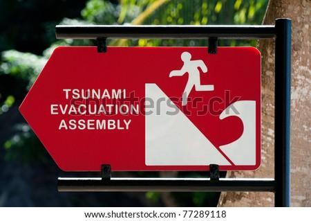 tsunami warning sign at indonesia