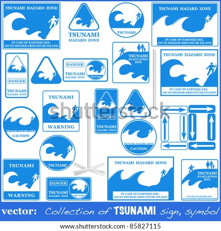 TSUNAMI warning sign set isolated on white. Gives you information about the possible wave destruction. Tsunami sign collection ready to print