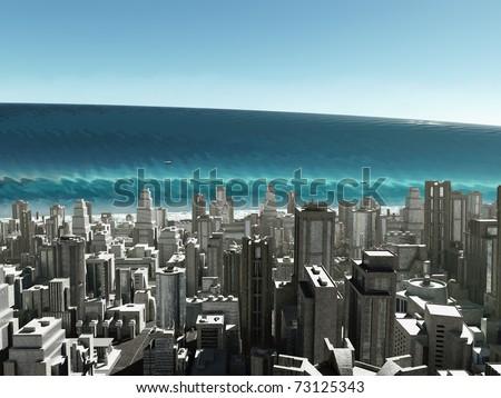 tsunami wave coming to city