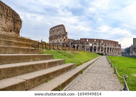 Tthe Colosseum landmark of Rome, Italy.