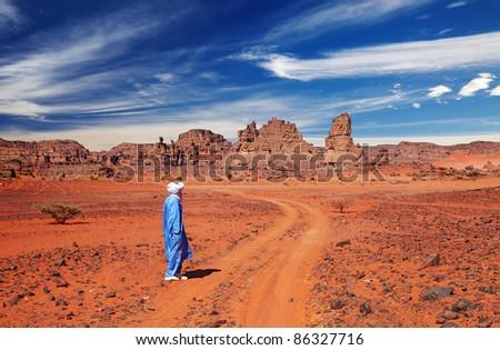 Tuareg in desert, Sahara Desert, Algeria - stock photo