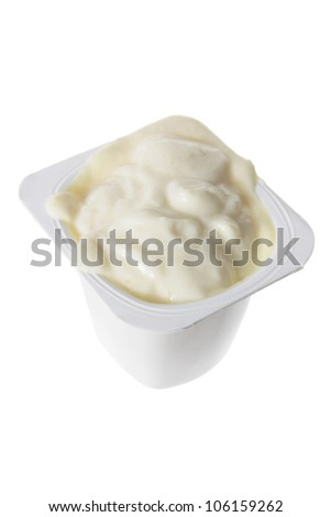 Tub of Yogurt on White Background