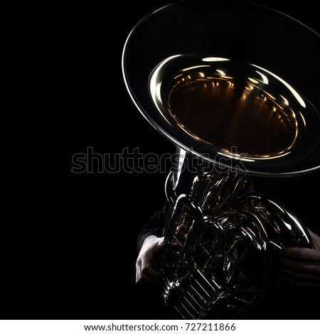 Tuba brass instrument. Wind music instrument Orchestra bass horn isolated.