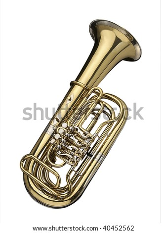 Tuba, wind instrument on a white background.