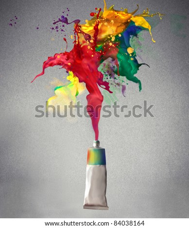 stock photo : Tube spraying colored paint