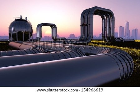Tubes of factory at sunset..