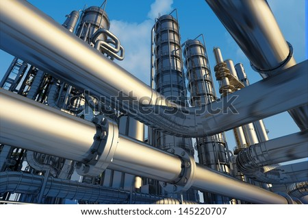 Tubes of factory on a background sky