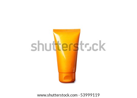Tubes with sunbathing cream and cream-mask,closed-up