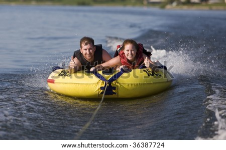 Tubing fun on the lake