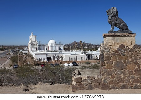 TUCSON, ARIZONA-FEB 14: San Xavier del Bac on Feb. 14, 2013 in Tucson, Arizona. Called the White Dove of the Desert that is an active Roman Catholic Church serving the San Xavier Indian Reservation.