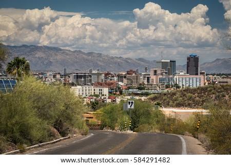 Tucson downtown and Santa Catalina Mountain from road to Sentinel Peak Park, Tucson, Arizona, USA