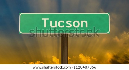 Tucson road sign with sunburst. High-resolution 3D illustration using the authentic US Highway Gothic font.