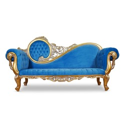 Tufted Blue Velvet Chaise Lounge Isolated. Antique Victorian Style Sofa Distressed Gold Giltwood Handcrafted Wooden Frame Giltwood Sweeping Scroll on Backrest. Upholstered Classic Interior Furniture