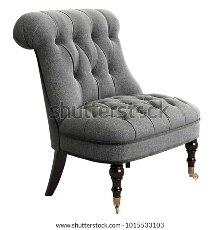 Tufted chair on white background 3d rendering #1015533103