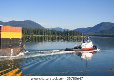 Tug Boat and Barge in the Wrangell Narrows Alaska
