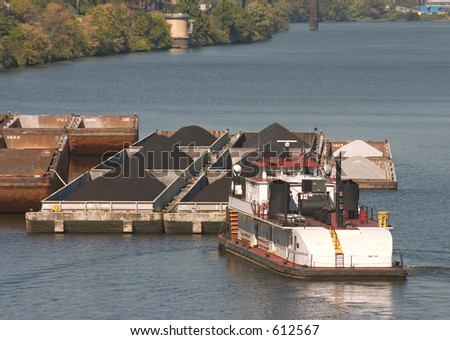 Tug boat and barges.