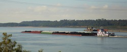 Tug boat and barges of petroleum oil passes under the Vicksburg Bridge along the Mississippi River