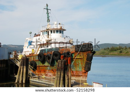Tug boat detail of bow in the Coos Bay area of coastal Oregon