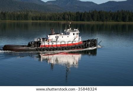 Tug boat navigating the Wrangell Narrows in Alaska