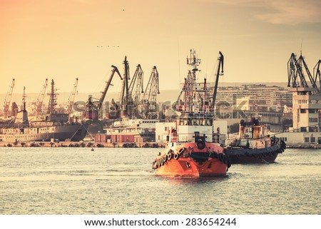 tug boats are working in varna...