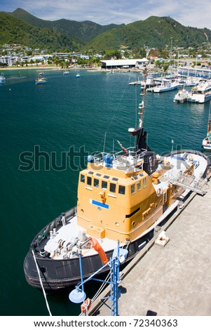 Tug in port of Picton, New Zealand