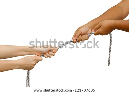 Tug of War,Two hands pulling a rope,meaning Business competition - man and woman struggling to win