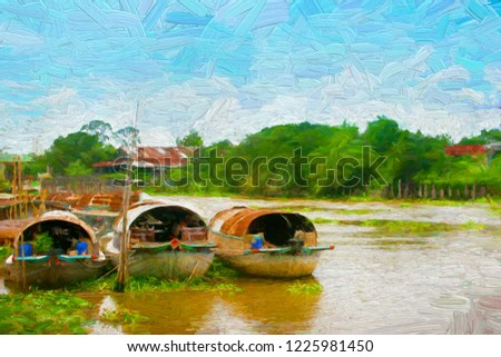 Tugboats (Iam Jut) or boats for transport, waiting for cargo forwarding.  Tugboats is the large ancient ships in the Chao Phraya River, Thailand. - digital oil painting