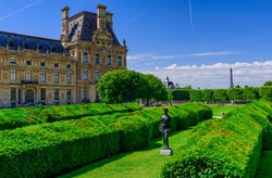Tuileries Garden is public garden between Louvre Museum and Place de la Concorde in Paris, France. Architecture and landmarks of Paris. Postcard of Paris