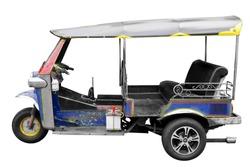 Tuk Tuk taxi in Thailand on white