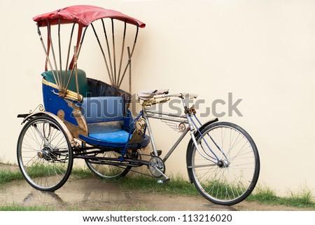 Tuk Tuk Typical Asian rickshaw bicycle oriental antiqued portrait tricycle vientiane scrapbook transport southeast motorcycle motor-cycle three-wheel traditional transportation
