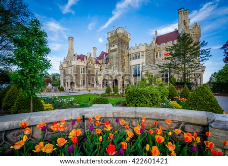 Shutterstock Tulips and Casa Loma in Midtown Toronto, Ontario.