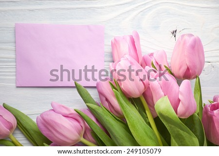 tulips and post card. March 8th, mother\'s day, valentine\'s day, International Women\'s Day, lilac, congratulate, celebrate
