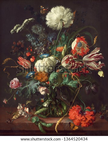 Tulips and roses. Still life. In the style of the ancient Dutch masters. Painting oil canvas 2019. Foto stock ©