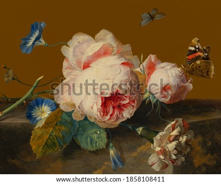 Tulips and roses . Still life. In the style of the ancient Dutch masters. Painting oil canvas 2020. Stock photo ©