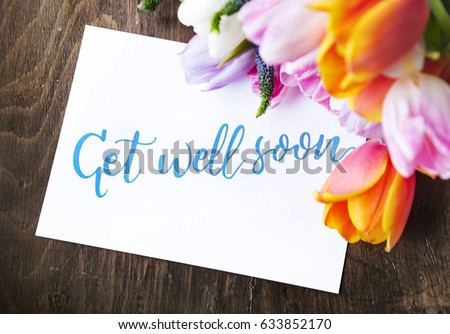 Tulips Flowers Bouquet with Get Well Soon Wishing Card #633852170