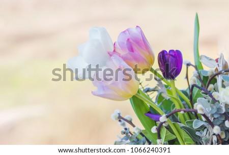 Tulips flowers rustic arrangement #1066240391