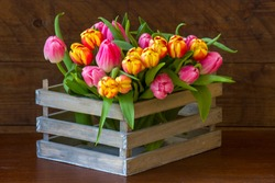 tulips in a box - wooden background