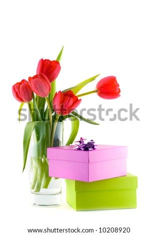 Tulips in a bucket. Isolation on the white - stock photo