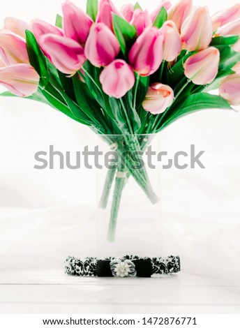 Tulips in a vase, wedding decorations,handmade decorations